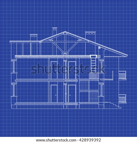 Best interesting architectural background on graph stock vector best interesting architectural background on graph paper cross section house vector blueprint malvernweather Image collections