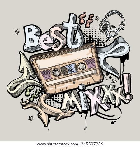 Best Mix music graffiti - stock vector
