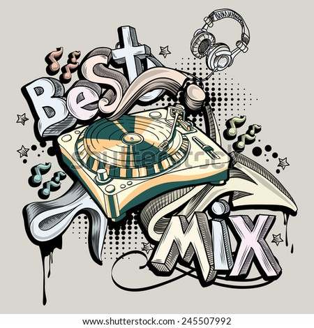 Best Mix music graffiti - stock vector