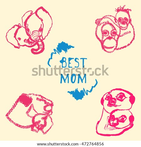 Best mom Vector illustration Postcard with the image of mothers of animals with the cubs and inscription Best mom