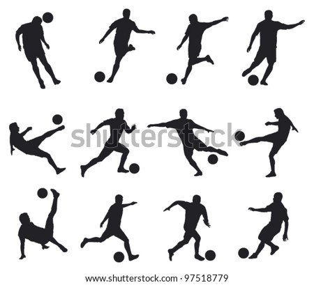 best movements of soccer player - stock vector