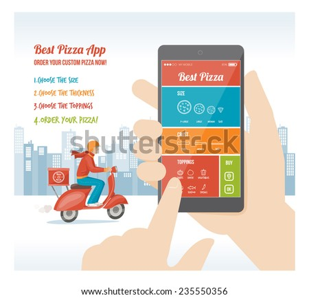 Best pizza app interface design with ingredient and icons on mobile display - stock vector