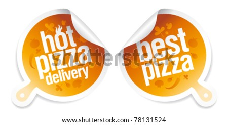 Best pizza, hot pizza delivery stickers. - stock vector