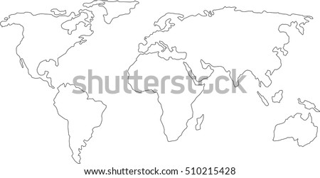 Best Popular World Map Outline Graphic Sketch Style Background Vector Of Asia Eu North South