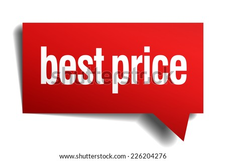 best price red 3d realistic paper speech bubble - stock vector