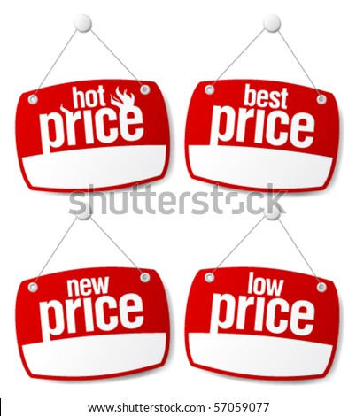 Best price signs set with empty place for prices - stock vector