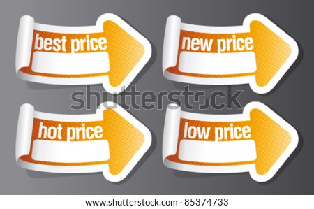 Best price stickers in form of arrow. - stock vector