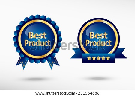 Best Product message stylish quality guarantee badges. Blue colorful promotional labels - stock vector