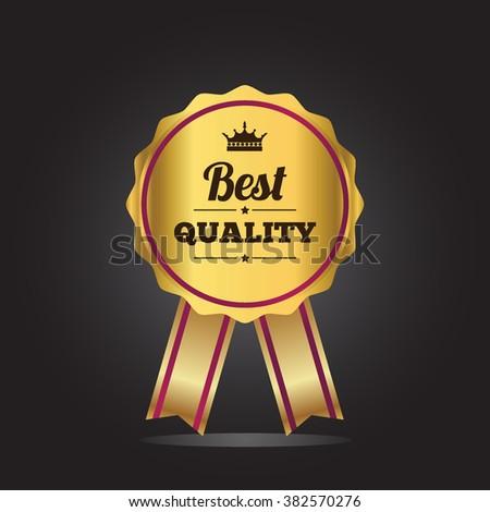 Best quality guaranteed golden label. Best quality golden badge, vector illustration - stock vector