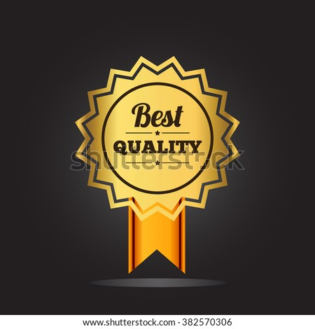 Best quality guaranteed golden label with crown and ribbon. isolated on black background vector illustration
