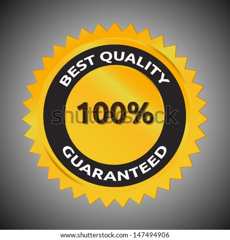 Best Quality 100% Guaranteed | vector template symbol | golden and black | shinny surface with shadows - stock vector