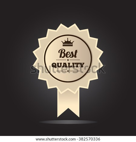 Best quality label with emblem and ribbon. isolated on black background vector illustration