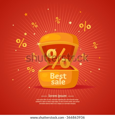 Best sale banner. Gift box in cartoon style. Original concept poster discount sale. Vector illustration on red background. - stock vector