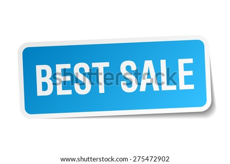 best sale blue square sticker isolated on white - stock vector
