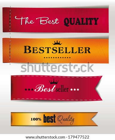 Best Seller and the best Quality textile labels - stock vector
