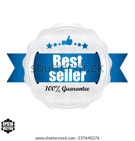 Best Seller Award Symbol, Sign, Icon,Label And Tag With Stars Stickers. Certificate Emblem Labels. Vector Badge With Blue Ribbon. - stock vector