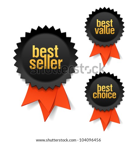 Best seller, best value and best choice labels with ribbon. Vector. - stock vector