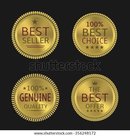 Best seller genuine quality best offer badge set. Golden labels, Vector illustration - stock vector