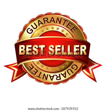 Best seller gold label with ribbons.  Vector illustration.