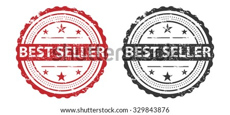 Best Seller Grunge Stamp Red and Black Isolated on white