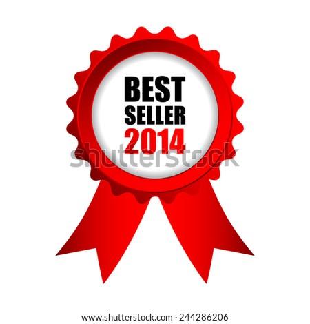 best seller 2014 red badge  - stock vector