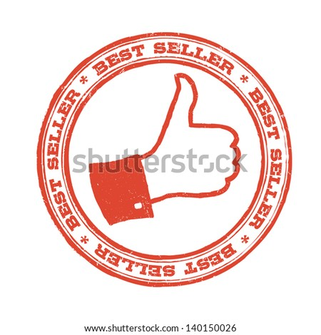 Best seller stamp with thumb up symbol. Vector - stock vector