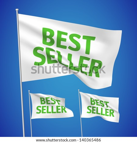Best seller - white vector flags. A set of wavy 3D flags created using gradient meshes. EPS 8 vector - stock vector