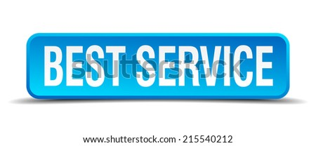 best service blue 3d realistic square isolated button - stock vector