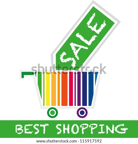 Best shopping concept: Shopping Cart With Price Tags - stock vector