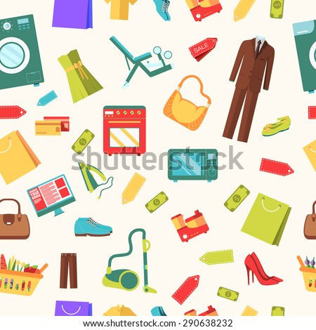 best shopping illustration concept. Template of icons seamless patern design. Many object purchased in the store. In flat sticker style - stock vector