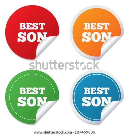 Best son sign icon. Award symbol. Round stickers. Circle labels with shadows. Curved corner. Vector