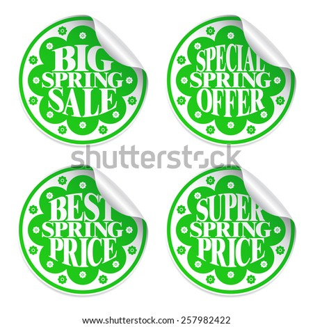 Best spring sale ,offer stickers set - stock vector