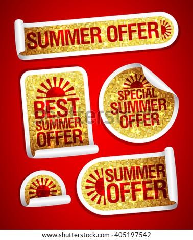Best summer offers golden fashion stickers set - stock vector