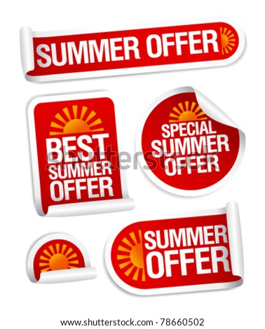 Best summer offers stickers set. - stock vector