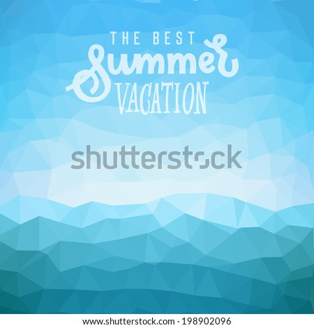 Best summer vacation. Poster on tropical beach background. Vector eps10. - stock vector