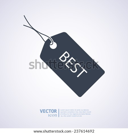 BEST tag icon, vector illustration. Flat design style  - stock vector