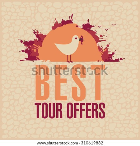 Best Tours Offers. Vector banner for travel agencies with a seagull in the sun - stock vector