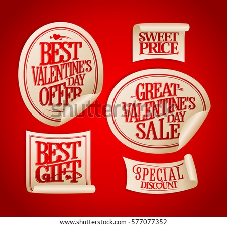 Best Valentines Day Sale Stickers Set Vintage Calligraphic Style Holiday Offers