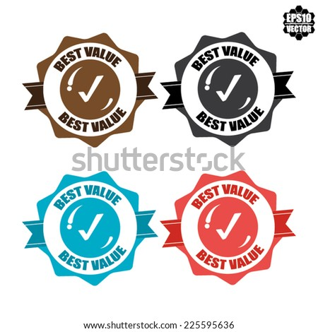 Best Value Badge, Icon, Label and Sticker Colorful Border Isolated on White Background - Vector illustration. - stock vector
