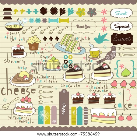best vector elements for scrapbook or card design - stock vector