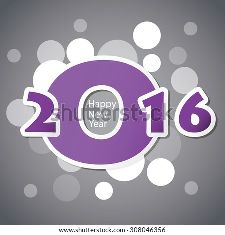 Best Wishes - Abstract Modern Style Happy New Year Greeting Card or Background, Creative Design Template - 2016 - stock vector