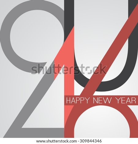 Best Wishes - Abstract Retro Style Happy New Year Greeting Card or Background, Creative Design Template - 2016 - stock vector