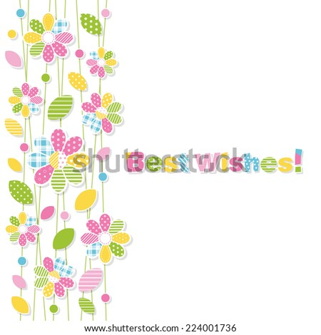 best wishes flowery greeting card - stock vector