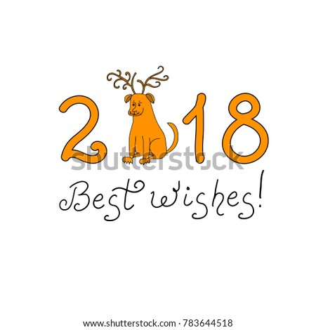 Best Wishes Text New Year Dog Stock Vector (Royalty Free) 783644518 ...