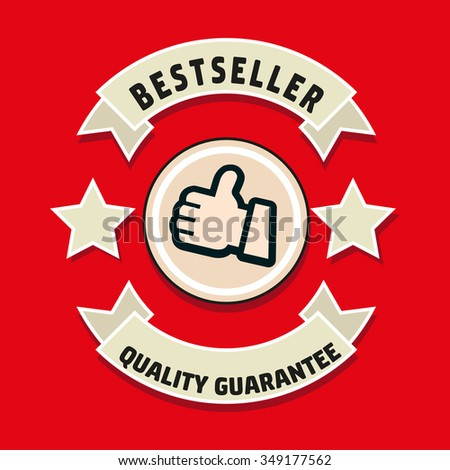 bestseller and guarantee label - stock vector
