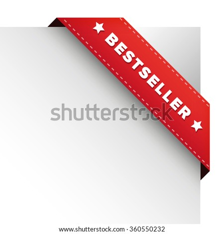 Bestseller red ribbon vector - stock vector