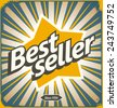 Bestseller retro tin sign design. Promotional banner for best selling product. Vintage vector poster template.  - stock
