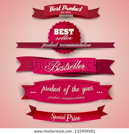 Bestseller. Set of Red Superior Quality and Satisfaction Guarantee Ribbons, Labels, Tags. Retro vintage style - stock vector