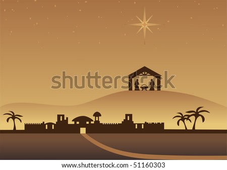 Bethlehem christmas background. Vector. - stock vector