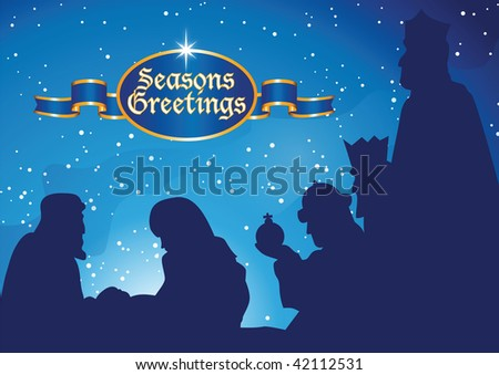 bethlehem mary and joseph - stock vector